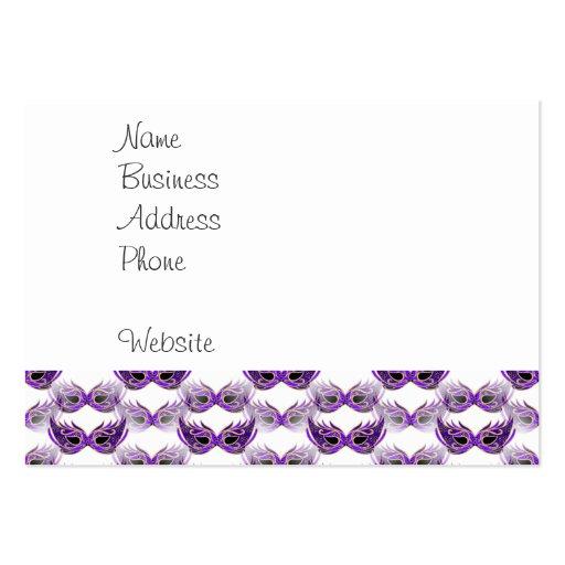 La bola de mascarada púrpura bonita enmascara carn plantilla de tarjeta de negocio