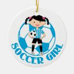 La bola del chica 2 del fútbol azul y el blanco ornaments para arbol de navidad