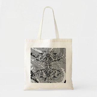 La bolsa de asas abstracta blanca negra de la serp