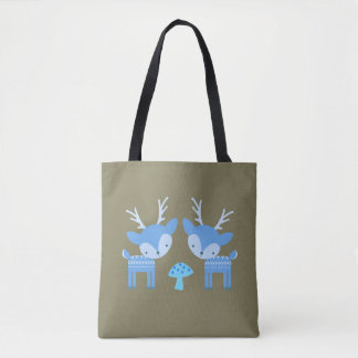 La bolsa de asas azul de la seta de ciervos