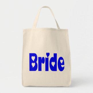 La bolsa de asas azul del boda del corazón de la