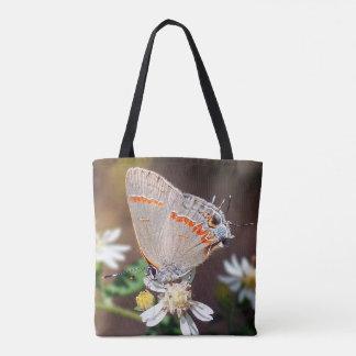 La bolsa de asas azul oscura de la mariposa de