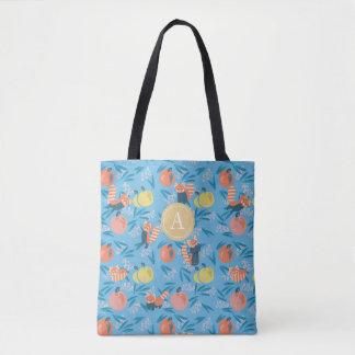 """La bolsa de asas azul personalizada de la """"panda"""