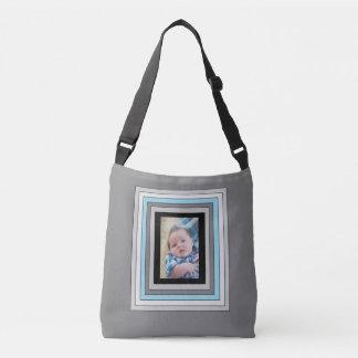 La bolsa de asas azul y negra personalizada de la