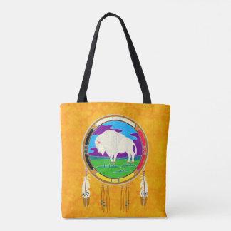 La bolsa de asas blanca del nativo americano del