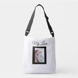 La bolsa de asas blanca y negra personalizada de