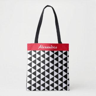La bolsa de asas blanco y negro de los triángulos