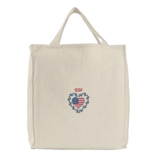 La bolsa de asas bordada corazón de los E.E.U.U. -