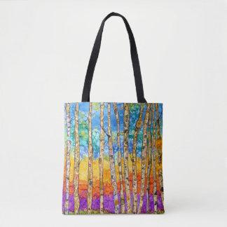 La bolsa de asas colorida de los árboles de Aspen