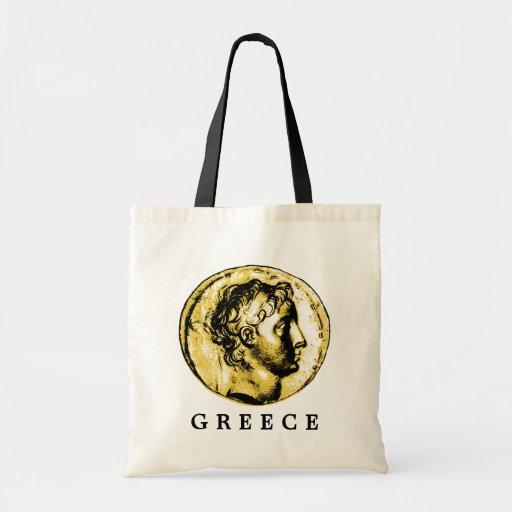La bolsa de asas con clase de la moneda del griego