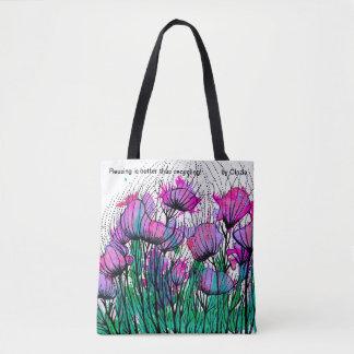 La bolsa de asas con las flores rosadas
