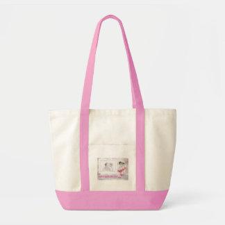 La bolsa de asas de encargo feliz del rosa de la
