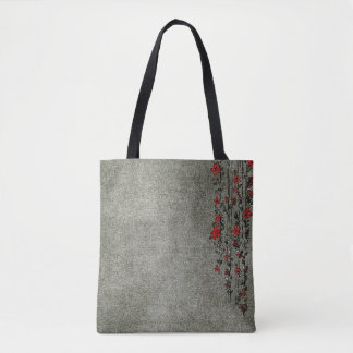 La bolsa de asas de encargo gris y roja moderna