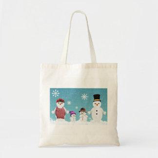 La bolsa de asas de la familia del muñeco de nieve