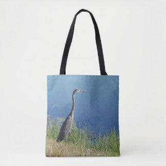 La bolsa de asas de la garza de gran azul