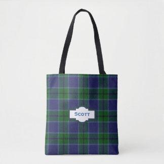 La bolsa de asas de la tela escocesa de tartán de