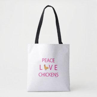 La bolsa de asas de los pollos del amor de la paz