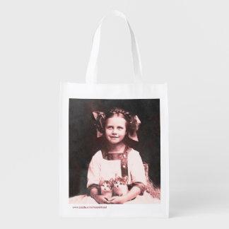 La bolsa de asas de señora Tabby Kitten Grocery de Bolsas Reutilizables