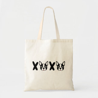 """La bolsa de asas de """"XOXO"""" Boston Terrier"""