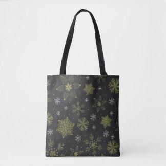 La bolsa de asas decorativa del invierno del copo
