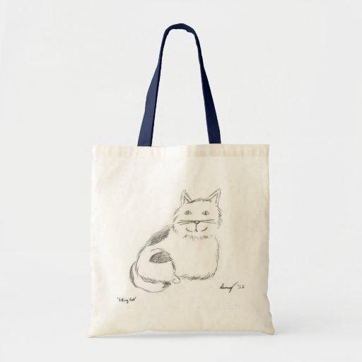 La bolsa de asas del bosquejo del gatito