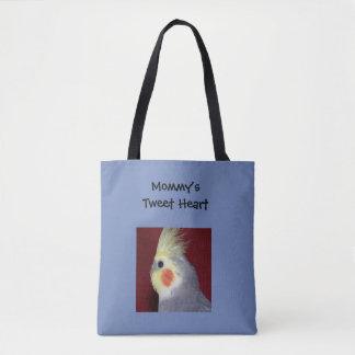La bolsa de asas del corazón del pío del Cockatiel