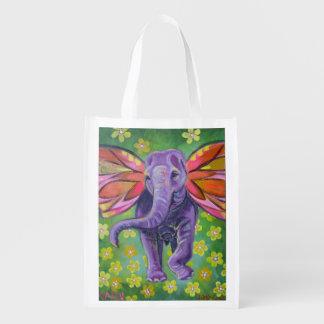 La bolsa de asas del diseño del elefante