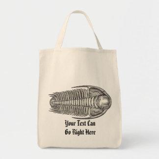 La bolsa de asas del fósil de Trilobite del vintag