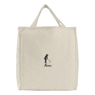 La bolsa de asas del golf de las señoras bordada