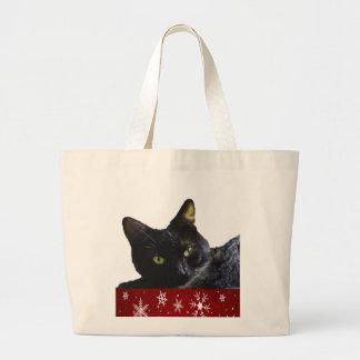 La bolsa de asas del jumbo del navidad del gato