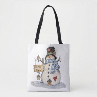 La bolsa de asas del muñeco de nieve del navidad