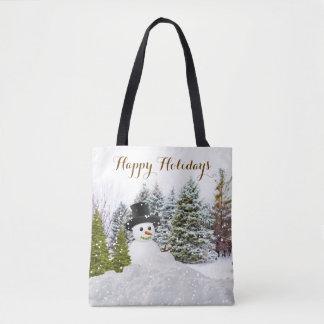 La bolsa de asas del navidad del muñeco de nieve