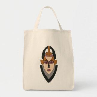 La bolsa de asas del ultramarinos con la máscara