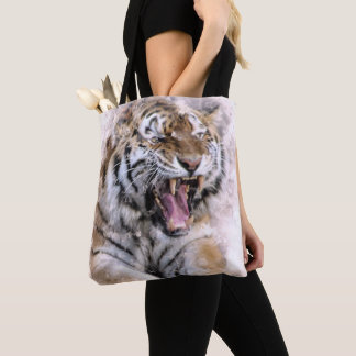 La bolsa de asas feroz de la acuarela del tigre