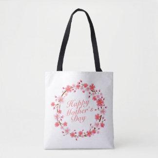 La bolsa de asas floral feliz elegante de la