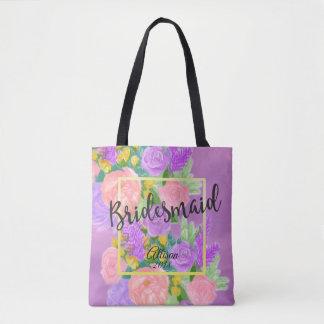 La bolsa de asas floral púrpura bonita de la dama