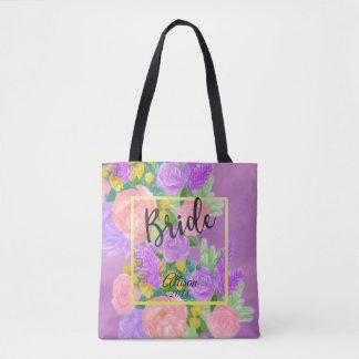 La bolsa de asas floral púrpura bonita de la novia