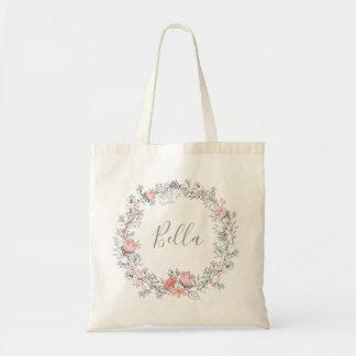La bolsa de asas floral rústica de la escritura