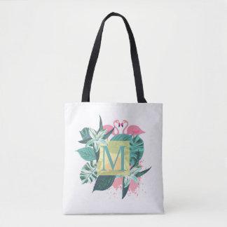 La bolsa de asas floral tropical del monograma del