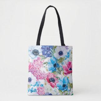 La bolsa de asas hermosa del estampado de flores