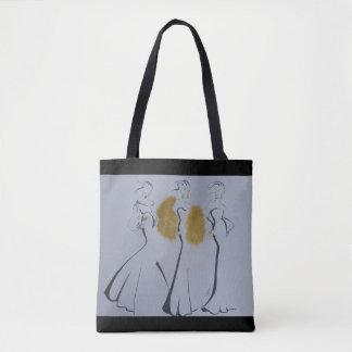 La bolsa de asas hermosa del oro, negra y blanca