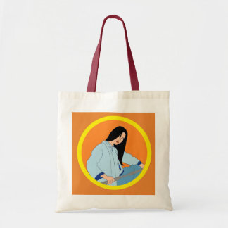 La bolsa de asas ilustrada mujer asiática