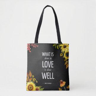La bolsa de asas inspiradora de la cita del amor