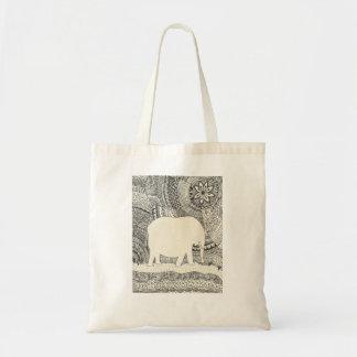La bolsa de asas invisible del Doodle del elefante