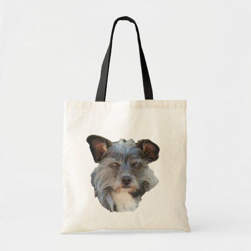 La bolsa de asas linda de la cara del perro de Ter