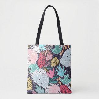 La bolsa de asas modelada collage tropical de la