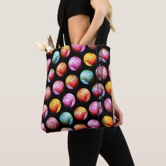 la bolsa de asas multicolora del voleibol del arte