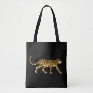 La bolsa de asas negra con el guepardo