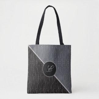 La bolsa de asas negra y gris geométrica del boda