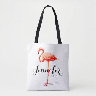 La bolsa de asas personalizada del flamenco de las
